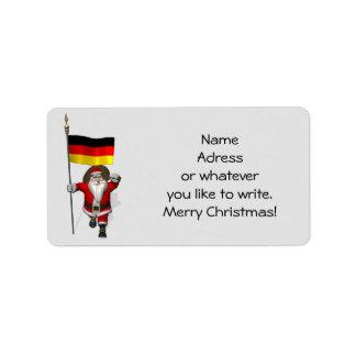 Papá Noel dulce con la bandera de Alemania Etiqueta De Dirección