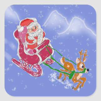 Papá Noel en invierno Calcomanía Cuadradase