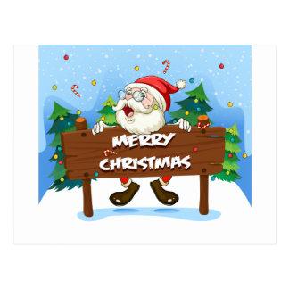 Papá Noel en la parte posterior de un letrero de Postal