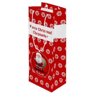 Papá Noel lindo con un saco lleno de presentes Bolsa Para Vino