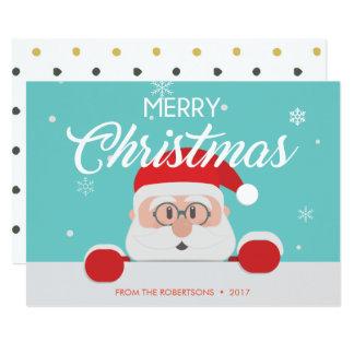 Papá Noel lindo estupendo hace frente a la tarjeta