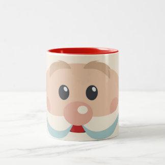Papá Noel lindo hace frente con la taza de café