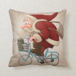 Papá Noel monta la bicicleta Cojines