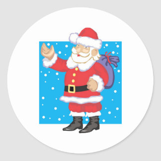 Papá Noel sonriente Pegatina Redonda