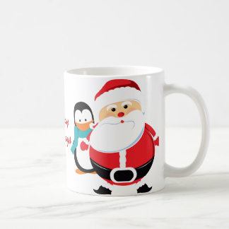 Papá Noel y pingüino lindos Taza De Café