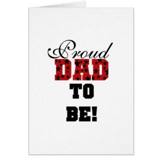 Papá orgulloso rojo y negro a ser camisetas y rega tarjeta