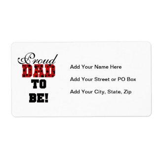 Papá orgulloso rojo y negro a ser regalos etiquetas de envío