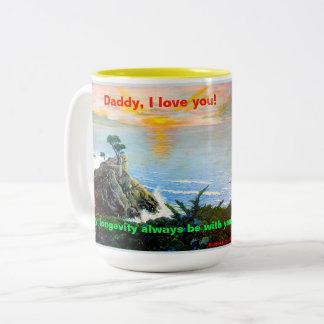 ¡Papá, te amo! Una taza con una canción que marcha