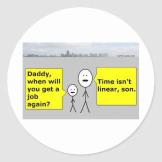 Papá y Bobby - tiempo linear Pegatina Redonda