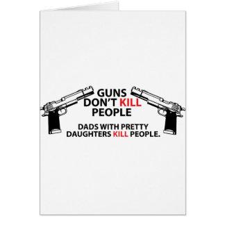 Papás con las hijas bonitas tarjeta de felicitación