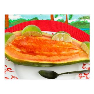 Papaya con la cal con la pintura tropical de la postal