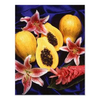 Papayas hawaianas invitación 10,8 x 13,9 cm