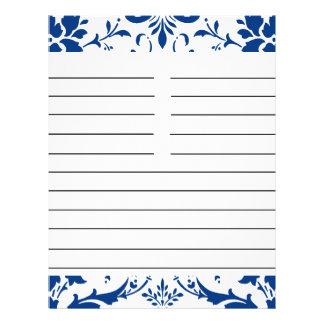 Papel a juego personalizado damasco azul de la rec folleto 21,6 x 28 cm
