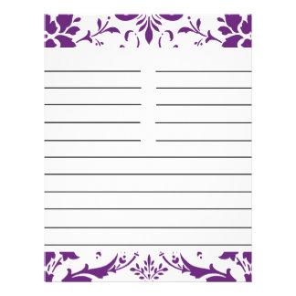 Papel a juego personalizado damasco púrpura de la folleto 21,6 x 28 cm