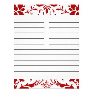 Papel a juego personalizado damasco rojo de la rec folleto 21,6 x 28 cm