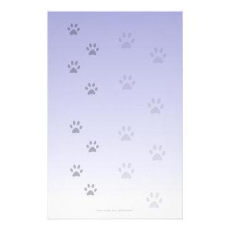 Papel azul de los amigos con huellas del gato papeleria personalizada