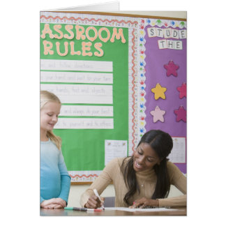 Papel de clasificación de los chicas del profesor  tarjeta