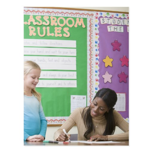 Papel de clasificación de los chicas del profesor  postales
