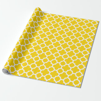 Papel de embalaje amarillo del modelo del enrejado