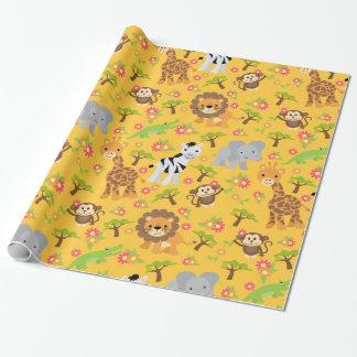 Papel de embalaje amarillo del safari del bebé