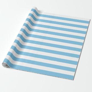 Papel de embalaje azul claro y blanco grande de papel de regalo