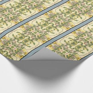 Papel de embalaje azul de bambú de las flores de