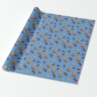 Papel de embalaje azul de Dreidel del gato de