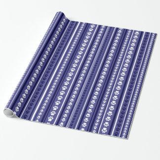 Papel de embalaje azul de la raya de la impresión papel de regalo