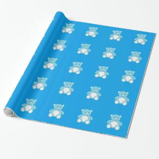 Papel de embalaje azul del peluche
