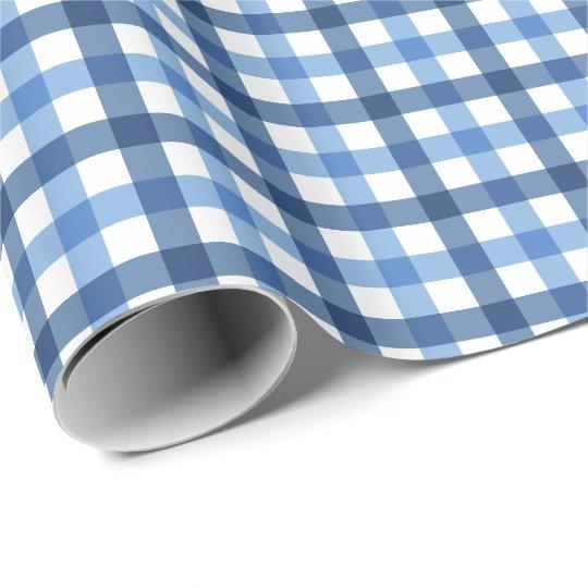 Papel de embalaje azul y blanco del modelo de la papel de regalo