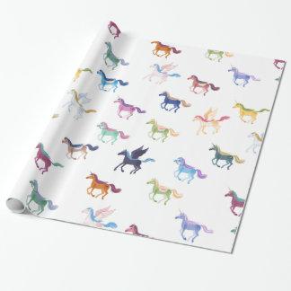 papel de embalaje blanco de los caballos mágicos