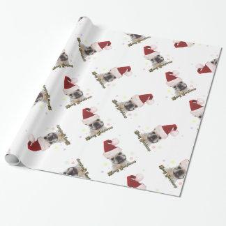 Papel de embalaje blanco del dogo francés del papel de regalo