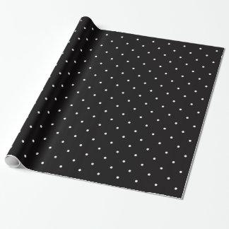 Papel de embalaje blanco negro del lunar del papel de regalo