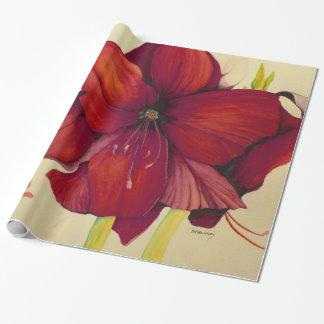 Papel de embalaje brillante del Amaryllis rojo del Papel De Regalo