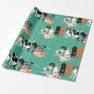 Papel de embalaje de la fila del Coonhound Papel De Regalo