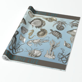 Papel de embalaje de la vida marina 1