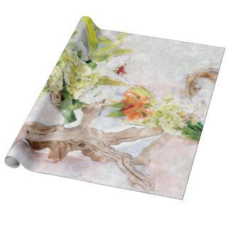 Papel de embalaje de lino de la acuarela de Bella