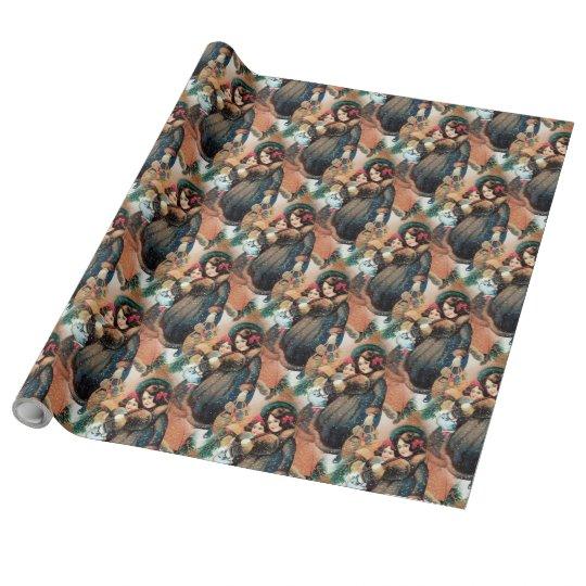 Papel de embalaje de lino de los chicas del papel de regalo