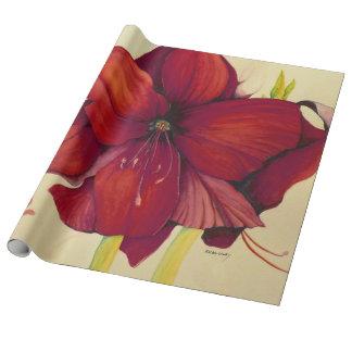 Papel de embalaje de lino del Amaryllis rojo del