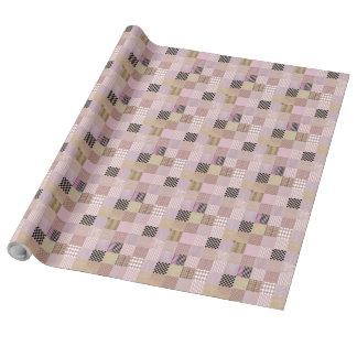 """Papel de embalaje de lino del remiendo rosado, 30"""" papel de regalo"""