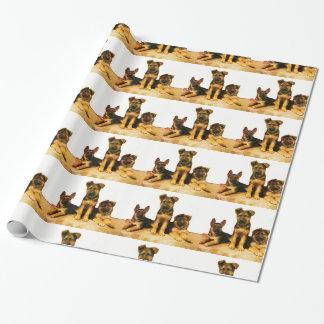 Papel de embalaje de los pastores alemanes papel de regalo