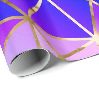 Papel de embalaje de oro azul atractivo del