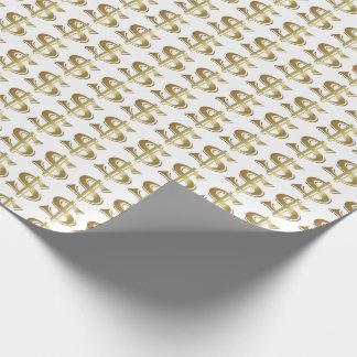 Papel de embalaje de oro de la muestra de dólar