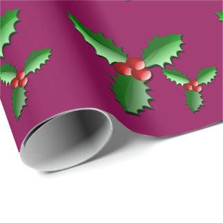Papel de embalaje del acebo del día de fiesta papel de regalo