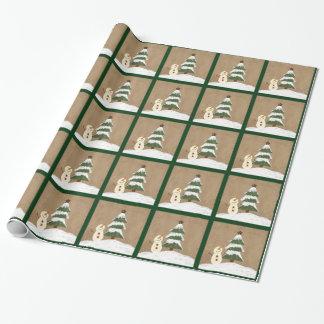Papel de embalaje del árbol de navidad del país