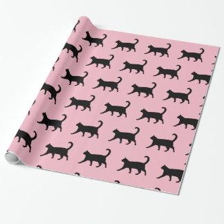 Papel de embalaje del gato rosado y negro