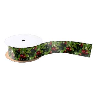 Papel de embalaje del navidad de la baya del acebo lazo de raso