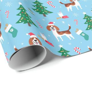 Papel de embalaje del navidad del beagle