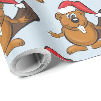 Papel de embalaje del navidad del castor