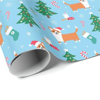 Papel de embalaje del navidad del Corgi Galés